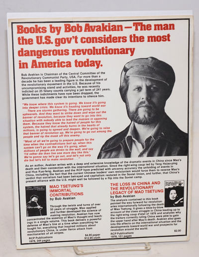 : RCP Publications, 1979. 8.5x11 inch handbill, printed one side, introducing Avakian and advertisin...