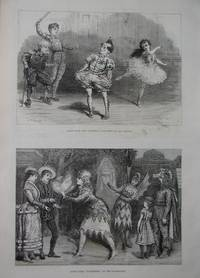 Theatre. Two Scenes. Children's Pantomime at the Adelphi, and Hyldemoer at the Polytechnic. by Engraving - 1877 - from N. G. Lawrie Books. (SKU: 47109)