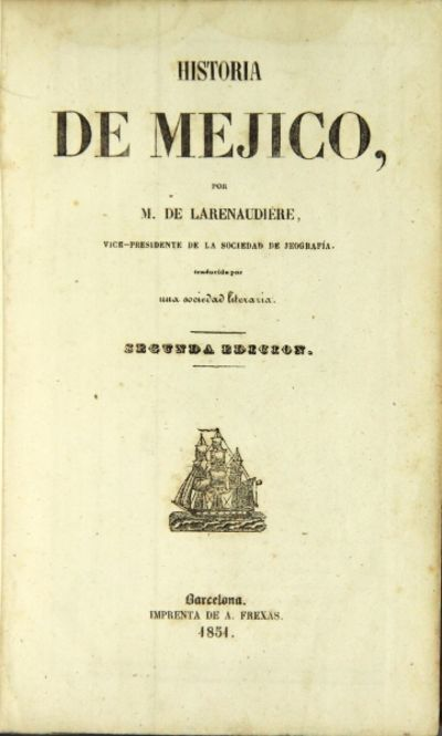 Barcelona: A. Frexas, 1851. 8vo, 2 parts in 1, as issued; pp. , 252, ; 127, ; text in double column,...