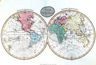 HAND-COLORED WORLD ATLAS