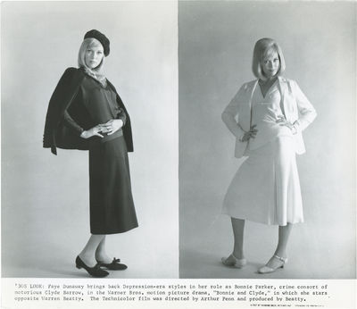 Burbank, CA: Warner Brothers, 1967. Vintage fashion test photograph of Faye Dunaway, in two outfits ...