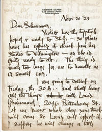 AUTOGRAPH LETTER SIGNED by THORNTON OAKLEY with fine association, to fellow Brandywine artist & illustrator FRANK SCHOONOVER, about shipping VIOLET OAKLEY\'S Triptych.