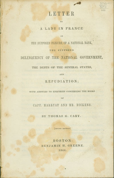 Boston: Benjamin H. Greene, 1844. 60pp. Extracted from bound pamphlet volume. Some foxing, a few pen...