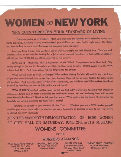 Broadside that calls for women's participation in a mass demonstration to protest cuts to the WPA (W...