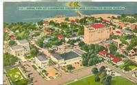 Aerial view of Clearwater, causeway and Clearwater Beach, Florida, unused linen Postcard