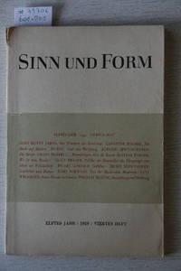 Sinn Und Form. Beiträge Zur Litteratur. 11.Jahr, 1959, 4.Heft.