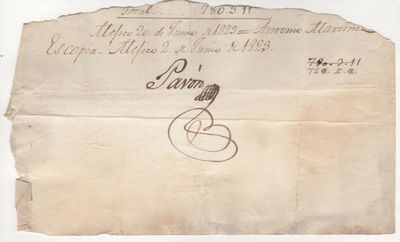 1823. Portion of paper, approximately 5