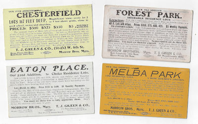 : T.J. Green & Co. Undated, likely early 20th century. Four cards measuring approximately 2.5 x 4.5 ...