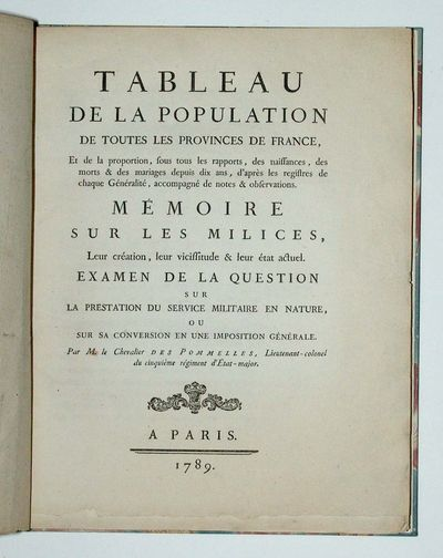 Paris, 1789. Very rare first edition of de Pommelles' groundbreaking study of the population of Fr...