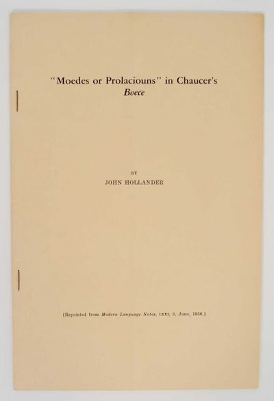 Modern Language Notes, 1956. First edition. Softcover. 4 pages. A separate reprint of this piece by ...