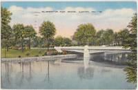 MC Naughton Park Bridge, Elkhart, Ind, 1953 used linen Postcard