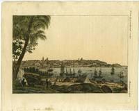 image of Ansicht der Stadt Sidney, von der Sudseite und der Mundung des Paramatta Flusses.  German hand colored engraving of Sydney after the Peron view