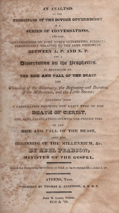 Athens, Tennessee: Thomas A. Anderson, 1832. First Edition. Hardcover. Fair. Octavo. , xii, 419 page...