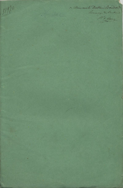 : Imprimerie Impériale, 1867. First edition. Paper wrappers. A very good- copy with scattered foxin...