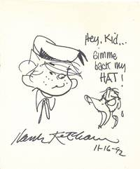 Donald Duck yells at Dennis the Menace in this  Original Sketch Signed, 4to, Jan. 25, 1991