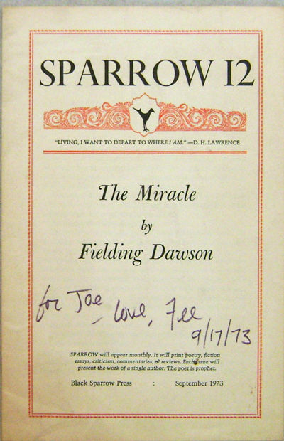 Los Angeles: Black Sparrow Press, 1973. First edition. Paperback. Very Good. Pamphlet. 11 pp. Number...
