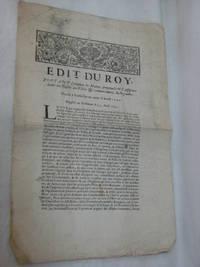 EDIT DU ROY, Portant Création de Maires perpétuels et d'Assesseurs dans les...
