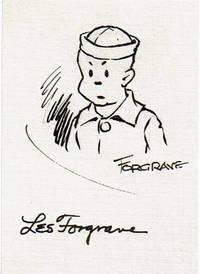 SIGNATURE ON A CARD OF CARTOONIST LES FORGRAVE, CREATOR OF THE BIG SISTER COMIC STRIP, WITH A SECOND SIGNATURE ON A MAILING ENVELOPE.