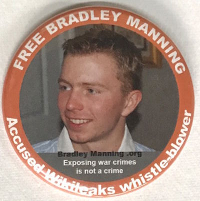 n.p.: BradleyManning.org, 2011. 2.25 inch diameter pin, photo portrait of Manning before coming out ...