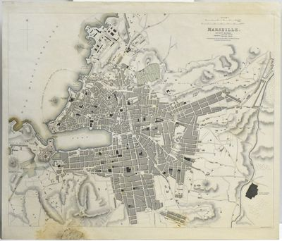 London: Baldwin & Cradock, 1830. A colored map of Marseille. Measuring about 14 x 16.5 in.