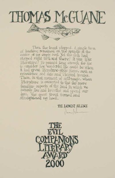 np, 2000. First edition. Attractive broadside printed in green with an illustration of a fish. Measu...