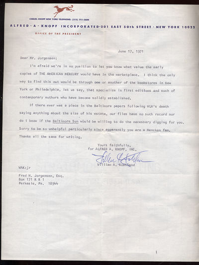 Unbound. Fine. Half page Typed Letter Signed, dated June 17, 1971 on Alfred A. Knopf stationery. Fin...