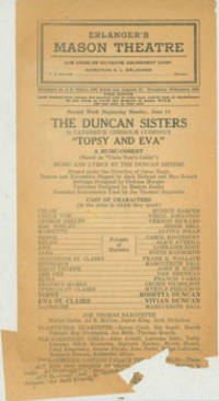 Topsy And Eva, a Music-Comedy, Based on Uncle Tom's Cabin, June 14, [1924].