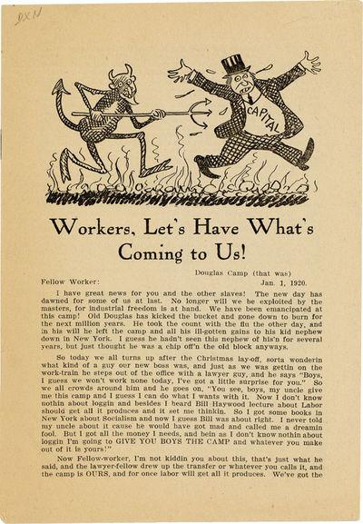 Seattle, 1920. First Edition. Octavo (20cm); pictorial staplebound self-wrappers; 7pp.; illus. throu...