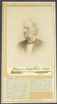 Sir Alfred Stephen. Cabinet card portrait, signed