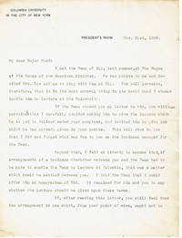 image of TYPED LETTER TO MAJOR POND SIGNED BY THE PRESIDENT OF COLUMBIA UNIVERSITY AND FUTURE MAYOR OF NEW YORK SETH LOW CONCERNING A POSSIBLE BUSINESS CONFLICT INVOLVING THE DEAN OF ELY.