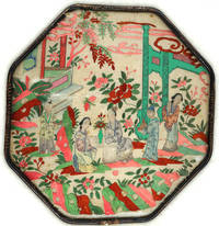 image of Antique 19th century Chinese embroidered silk fan with Tea drinking image