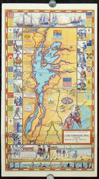 Lake Champlain Bridges.  All Year - Day and Night - No Delays.  Official Map.  Lake Champlain Tour, Rouses Point Bridge, Lake Champlain Bridge.  (Pictorial map title: An Historical Map of the Lake Champlain Tour along the Warpath of the Nations).