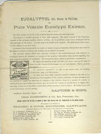Eucalyptol (ol. euc. e foliis), or Pure Volatile Eucalypti Extract.  Advertisement handbill