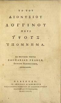 To tou Dionysiou Longinou peri hypsous hypomnema : Ex editione tertia Zachariae Pearce
