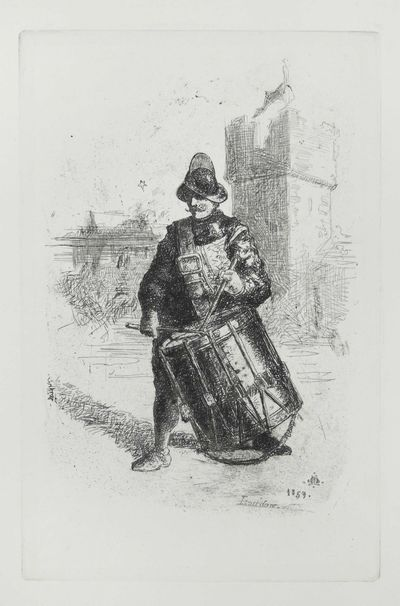 1859. Very Good. A handsome small etching of a man drumming by the Victorian artist Matthew James La...
