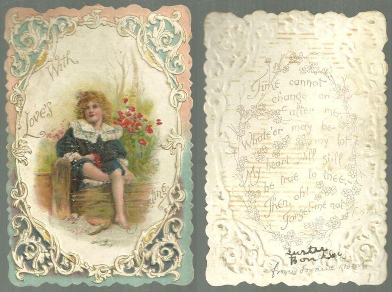 VINTAGE VALENTINE WITH LITTLE BOY, WITH LOVE'S GREETING, Valentine