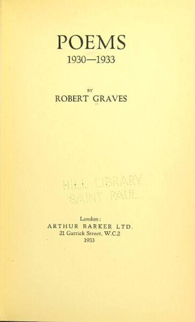 London: Arthur Barker Ltd, 1933. First edition, slim 8vo, pp. , 38; original black cloth-backed prin...