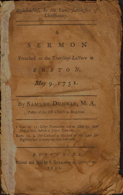 Boston: Printed and Sold by S. Kneeland in Queen Street, 1751. First Edition. Wraps. Fair. Approx. 8...