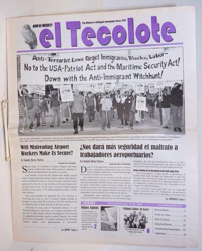 San Francisco: El Tecolote, 2002. Newspaper. 16p., folded tabloid newspaper, bilingual Spanish and E...