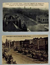 image of (Real Photo postcards)  Ringling's Circus Parade and View of Newton Kans., Looking South on Main St.
