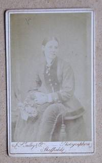 Carte De Visite Photograph. Portrait of a Young Woman Holding a Basket of Flowers.