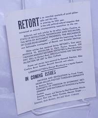 Retort [handbill advertising the anarchist quarterly]