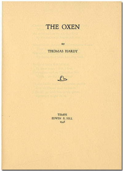 Tempe : Edwin B. Hill, 1948. pp. leaflet. Separate printing of this poem, issued in an unspecified (...