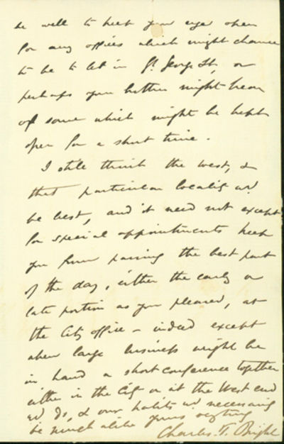 London, 1861. Very Good. Bright, Charles Tilston (1832-88). A.L.s. to Latimer Clark. London, January...