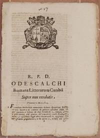 ODESCALCHI ROMANA LITETRARUM CAMBII SUPER NON RESOLUTIS VENERIS 5 MAII 1820