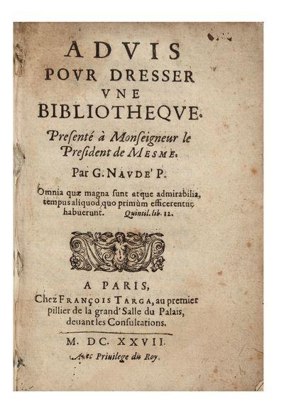 Advis pour dresser une Bibliotheque....