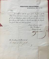 Printed letter, signed in ink, to the Governor of New York (DeWitt Clinton), dated February 16th, 1826.