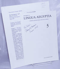 [2 papers]: On the name 'Plotinus'  in Lingua Aegyptia, Journal of Egyptian Language Studies no. 5 1997  [with]   Dissertation Chapter Outline, The Ouroboros: An Iconological and Theological Study  [2 stapled offprints, together]