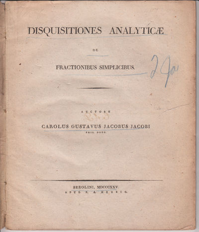 Berlin: F A Herbig, 1825. First Edition.. orig. marbled wrappers.. A good copy with some overall ton...