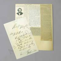 George Francis Train Signed Letter, 1863, With Ephemera